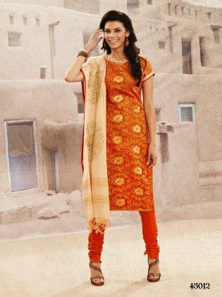 Orange Embroideried Dress Material - Orange - Touch Trends Ethnic