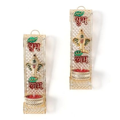 Set Of 2 Wall Hanging Of Shubh Labh With Tradinational Candles - Sugar Candy