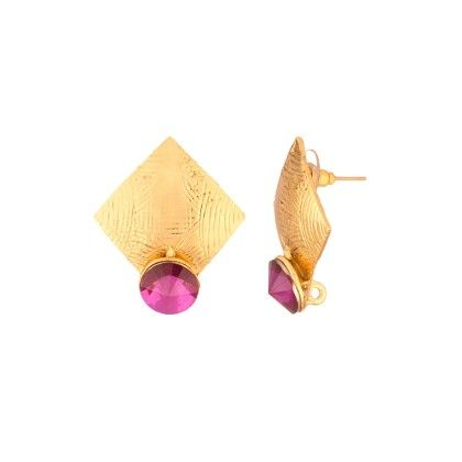 Voylla Gold Toned Earring Pair Studded With Purple Stones