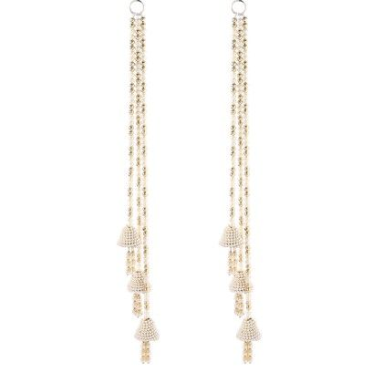 Set Of 2  Pearl Side Hangings With Pearl Bells - Sugar Candy