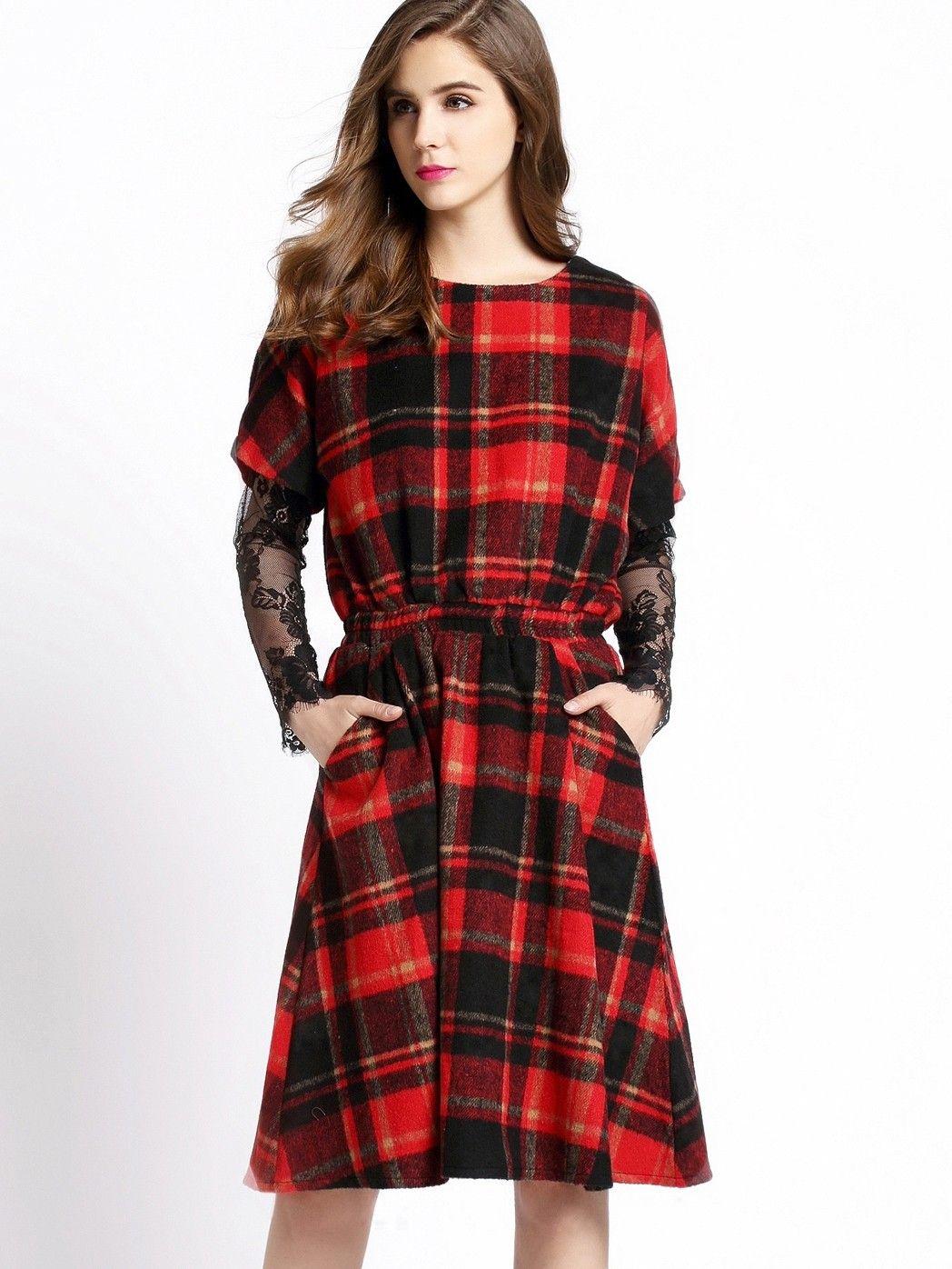 Red Black Round Neck Plaid Tie-waist Dress - She In