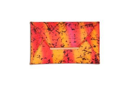 Orange Pink Speckled Tiedye Envelope Hand Bag - Arancia
