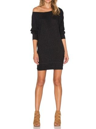 Black Charcoal Boat Neck Jumpers Long Sleeve Bodycon Dress - She In