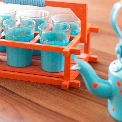 The Chaiwalla Set - Teal Blue & Orange - PoppadumArt