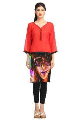 Red Digitally Printed Georgette Kurti - Avya