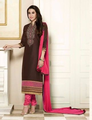Brown Straight Suit Dress Material - Fashion Fiesta