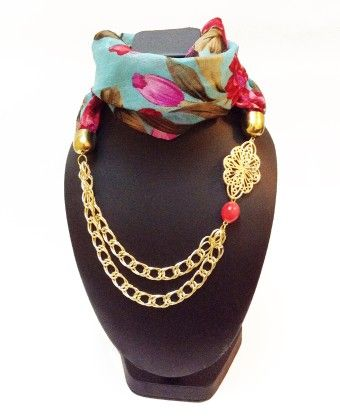 Raw Silk Ferozi Floral Necklace Scarf - Lime