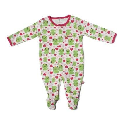 Frog Allover Print Soft Sleepsuit-printed - TOFFYHOUSE