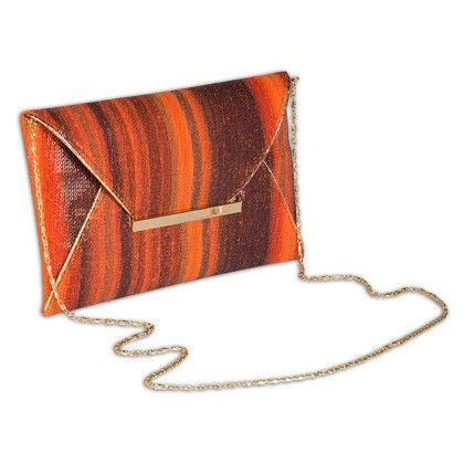 Earthen Sequinned Envelope Hand Bag - Arancia