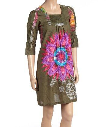 Green & Magenta Floral Shirred Shift Dress - Women - Yo Baby