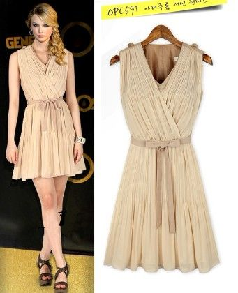 Beige Pleated Overlap Short Dress - Enigma