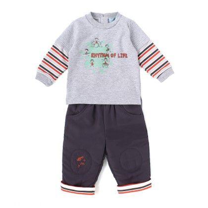 Set Of 2 Top & Pants Padding - Grey & Orange Stripe - WWW