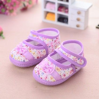 Lavender Floral Print Shoes With Bow - Milonee