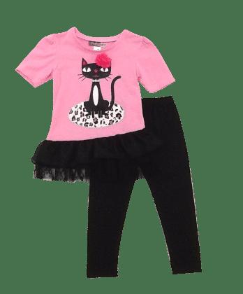 Cute Cat Print Top And Leggings Set-  Pink - Baby Ziggles
