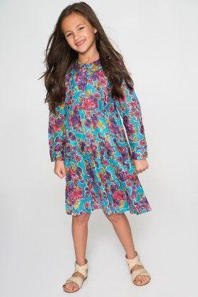 Blue & Fuchsia Floral Dress - Toddler & Girls - Yo Baby