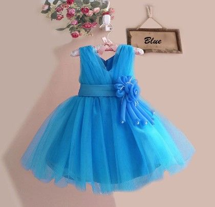 Beautiful Blue Floral Applique Dress - Mia's Flair