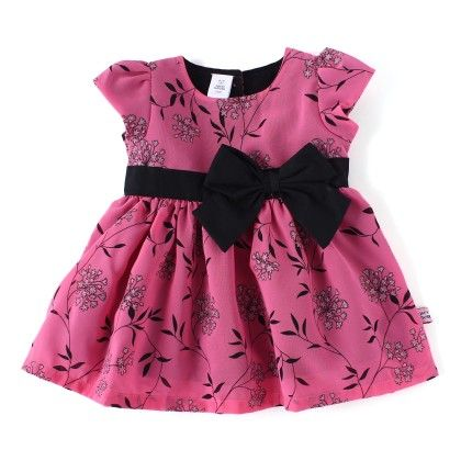 Flower All Over Printed Party Dress With Bow - TOFFYHOUSE