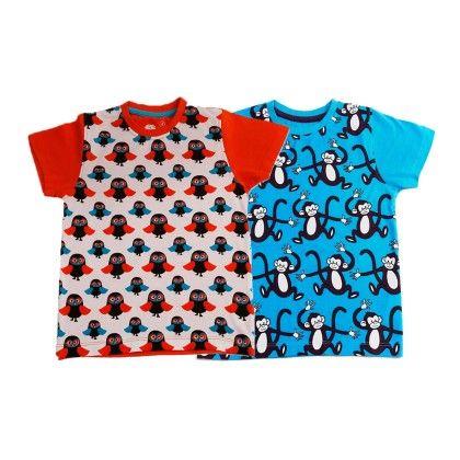 White & Blue Kids T Shirt Combo Pack Of 2 - White,blue - Huntler