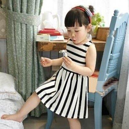 Girl's O-neck Sleeveless Striped A-line Tank Dress - Kidsloft