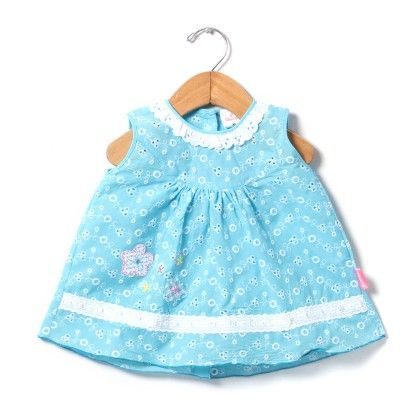 Chikan Sleeveless Dress With Lace And Embroidery-blue - Chocopie