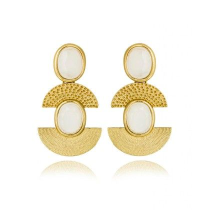 Golden Finish Earring With White Stone Setting - Rooh Jewellery