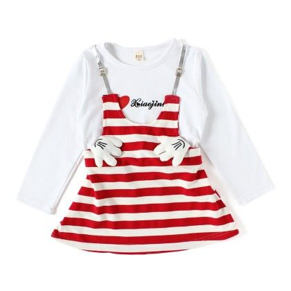 Red And White Striped Full Sleeve Dress - ChipChop