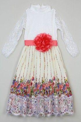 Ivory Lace Flower Pleated Dress - Tutu And Lulu