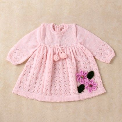 Pink & White Blended Dress - Knitting Nani