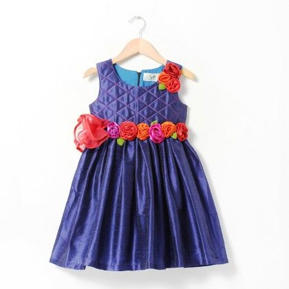 Dupion Dress With Quilted Yoke And Multicour Flowers And Leaves - ISM