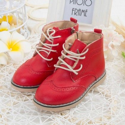 Red Shoes With Tie-up Laces - Oh Pair