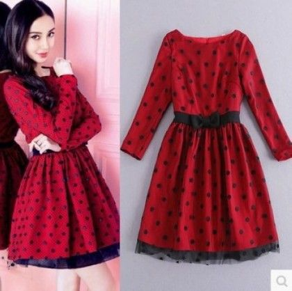 Black And Red Polka Dress - Drape In Vogue