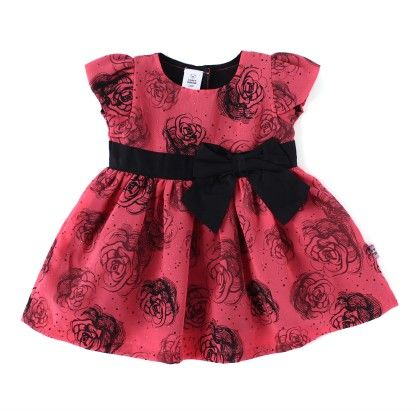 Rose All Over Printed Party Dress With Bow - TOFFYHOUSE
