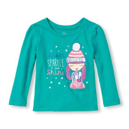 Long Sleeve 'sweet Sparkle Shine' Graphic Tee - The Children's Place
