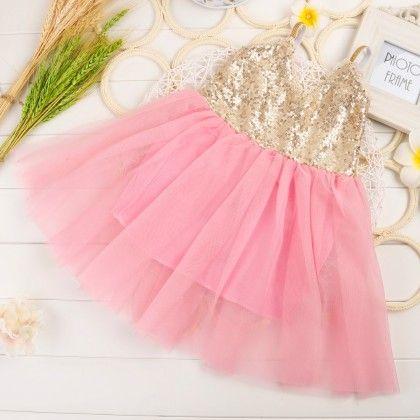 Ballerina Singlet Sequin Dress - Pink - Little Dress Up