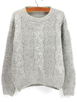 Grey Round Neck Chunky Cable Knit Sweater - She In