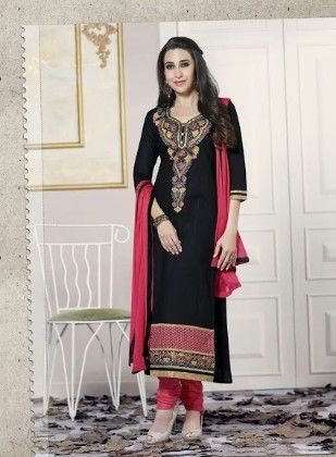 Black Cotton With Embriodery Dress Material - Fashion Fiesta