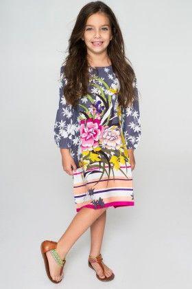Blue & Pink Floral Dress - Toddler & Girls - Yo Baby