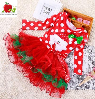 T-shirt + Lace Tutu Skirt Bow Polka Dots Christmas Santa Claus Suits - Adores