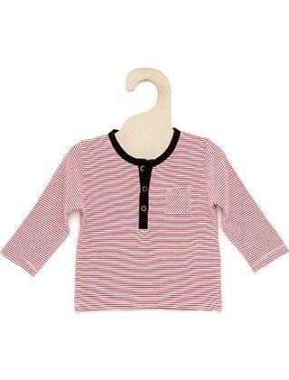 Pink Striped T-shirt With Grandad-style Neckline - Kiabi