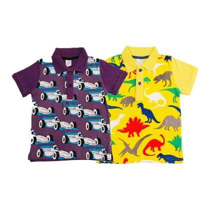 Purple & Yellow Kids T Shirt Combo Pack Of 2 - Huntler