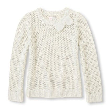 Girl's Long Sleeve Metallic Bow Crew Neck Knit Sweater - Cloud - The Children's Place