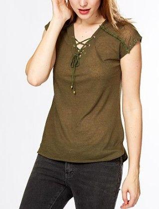 T-shirt With Lace Yoking + Lacing At The Neckline Khakhi - Kiabi