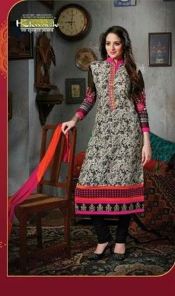 Black All Over Printed Semi Stitched Suit - Fashion Fiesta