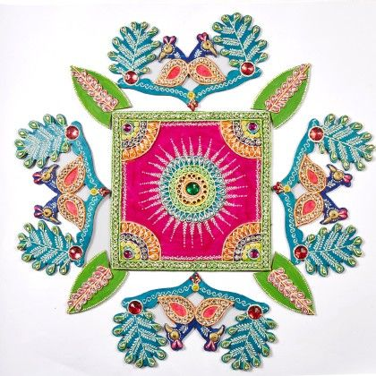 Square With Peacock Floor Rangolli - Color Crave