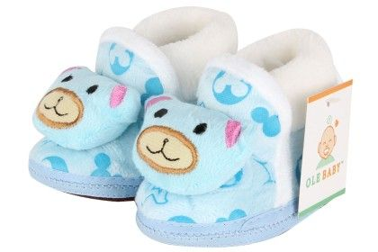 Ole Baby Soft Furry 3d Ole Toons Booties - Blue