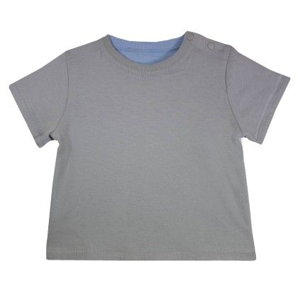 Max Reversible Short Sleeves Boy T-shirt Grey-light Blue - Chateau De Sable