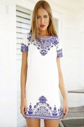 Simple White And Blue Printed Dress - Enigma