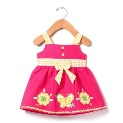 Sleeveless Plain Dress With Applique Embroidery-dark Pink - Chocopie