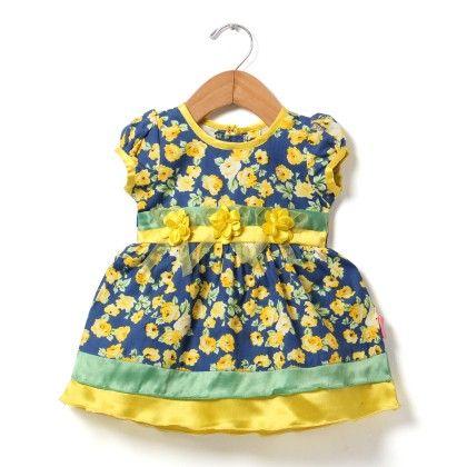 Floral Formal Dress With Tissue Flower-lemon - Chocopie