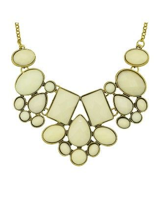 Beige Imitation Gemstone Chunky Statement Necklace - She In